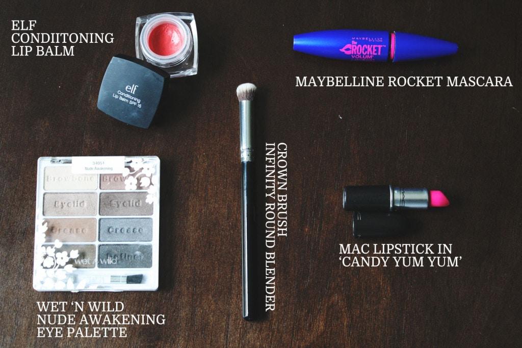 Beauty Favorites: ELF, Wet 'n Wild Nude in Private, Maybelline Rocket, Crown Brush, Mac Candy Yum Yum