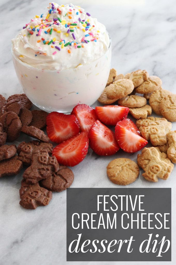 Festive Cream Cheese Dessert Dip - perfect for princess parties, gatherings, or a fun snack that kids love!