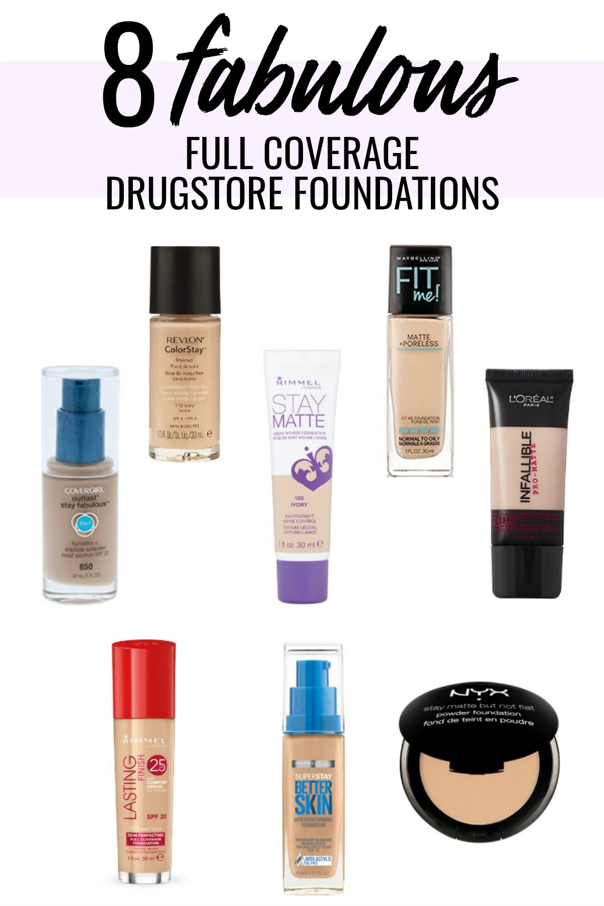 A drugstore is full of amazing options for full coverage foundations. Houston Beauty blogger Meg O. On The Go shares 8 of the best drugstore foundation. Read more!