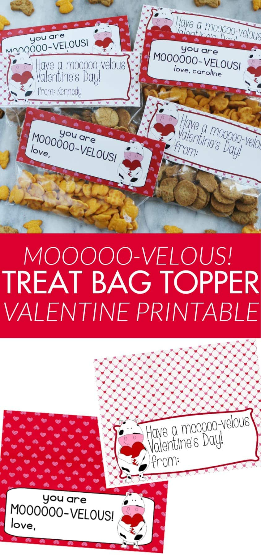 Free Valentine Treat Bag Topper Printable - great for class parties, and no candy!