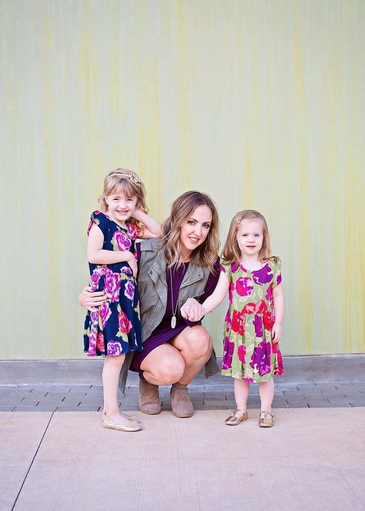 Mother daughter fall outfits - floral and jewel tones. So pretty!