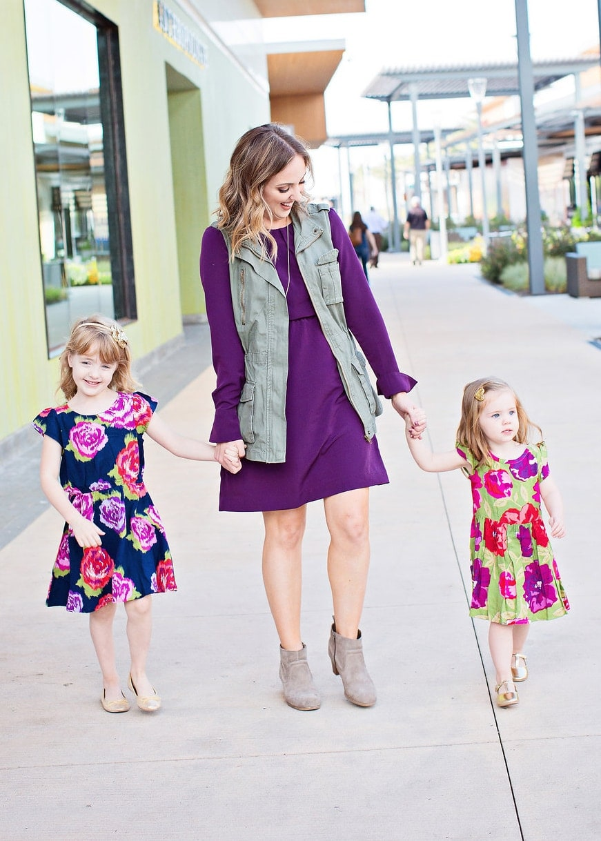 Mother daughter fall outfit inspiration - love the purple, military vest, and floral dresses