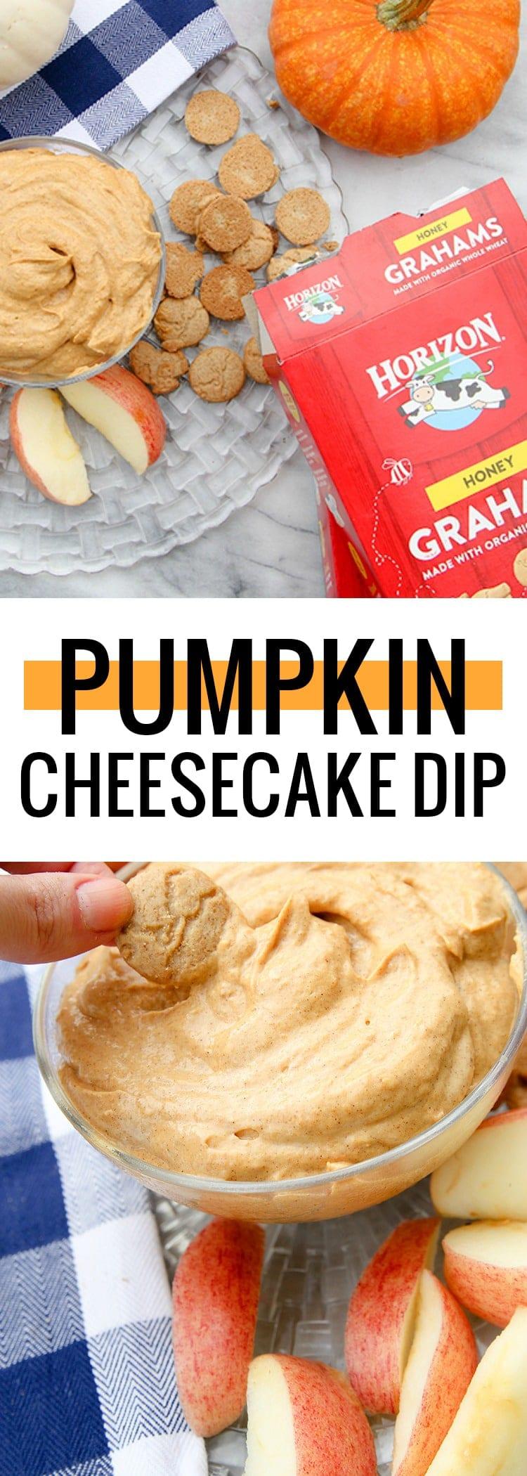 An easy, kid friendly pumpkin cheesecake dip that pairs perfectly with @HorizonOrganic Snack Grahams! #MoreHonestFood #HorizonTreats #HorizonSnacks #ad