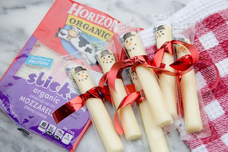 string cheese snowmen with Horizon string cheese