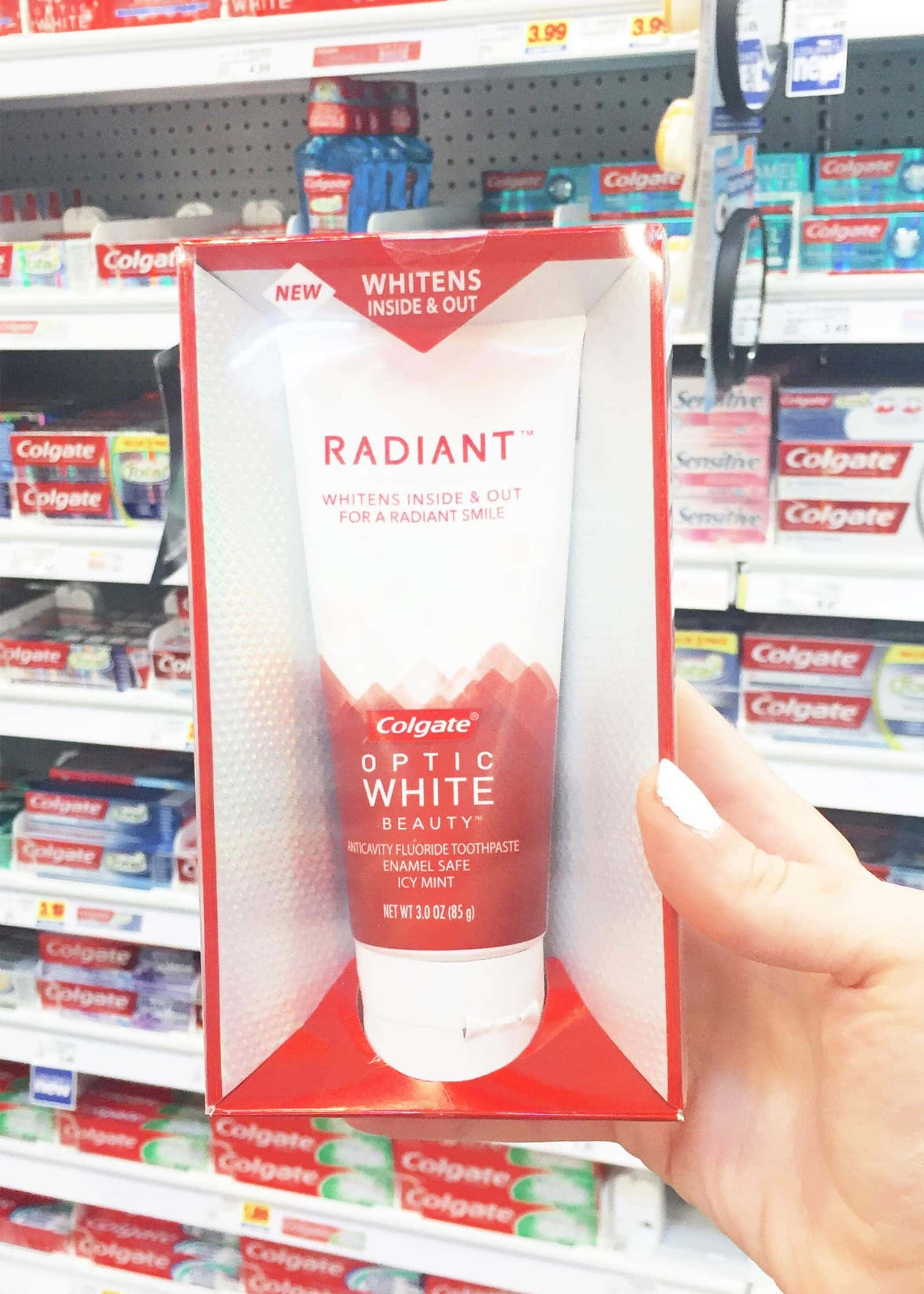 Colgate radiant white on aisle at Kroger