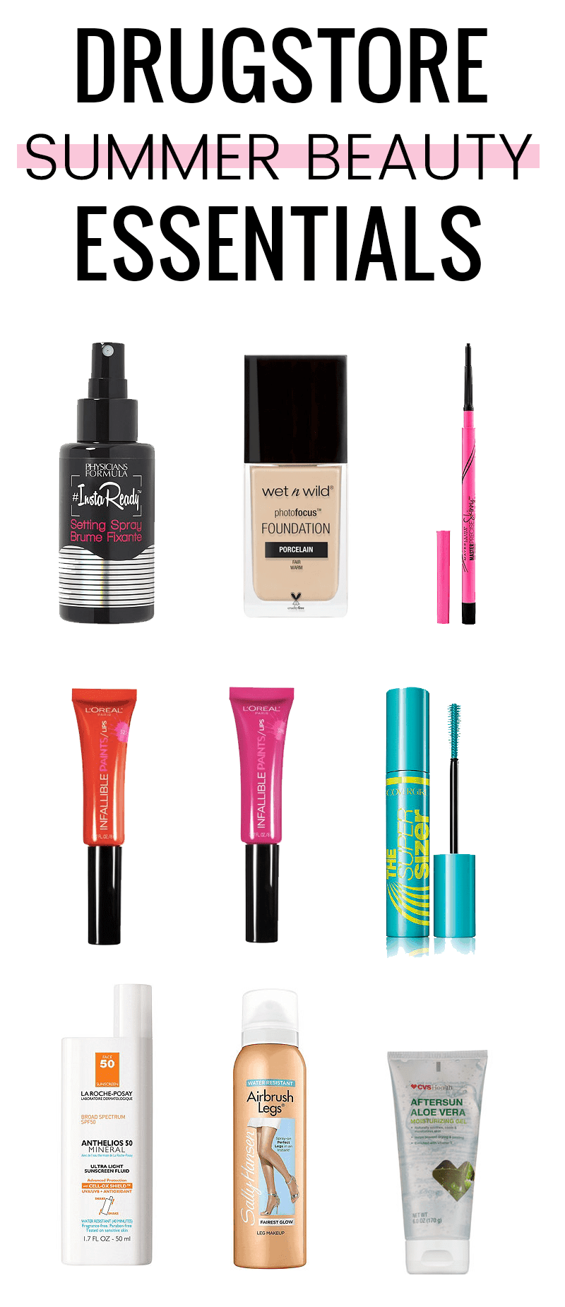 Drugstore Summer Beauty Essentials from CVS by popular beauty blogger Meg O. on the Go