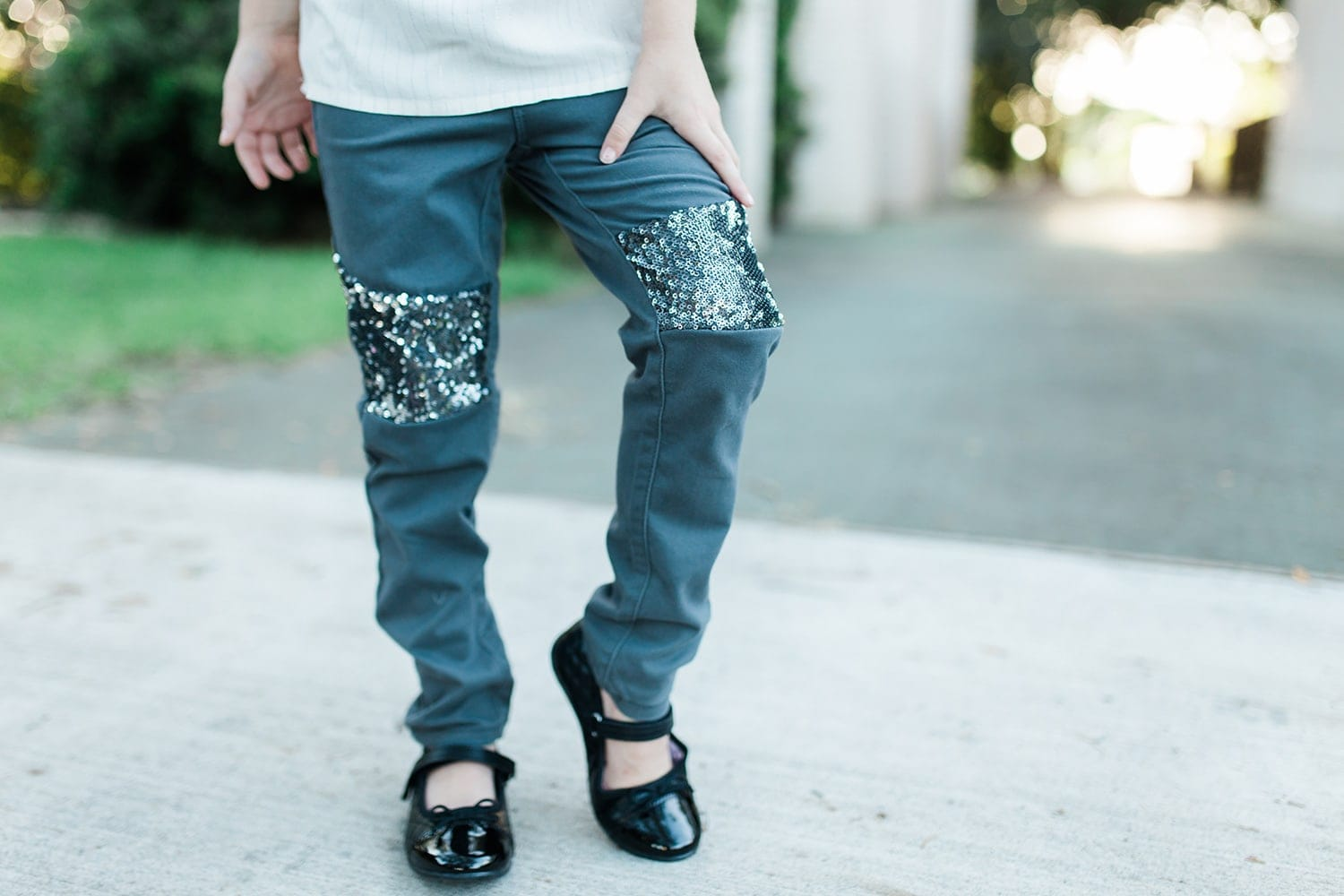 sparkle jeggings are on trend for back to school outfits!