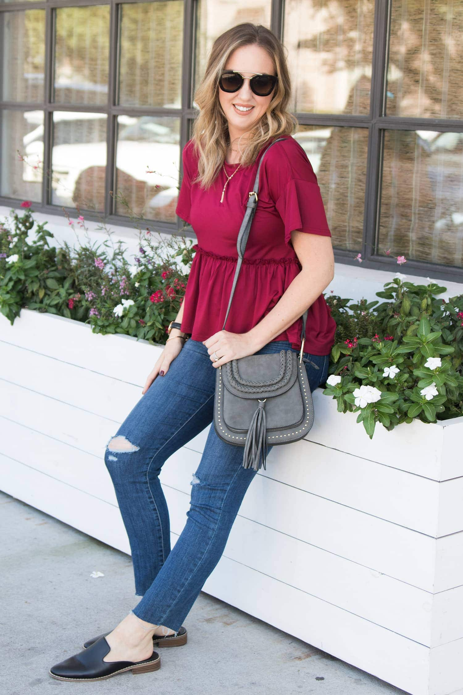 Easy casual outfit - the best burgundy top for fall