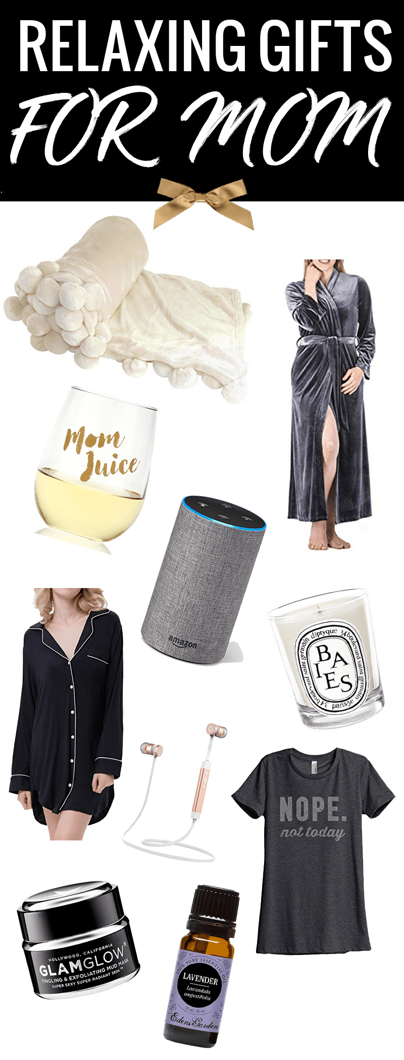 Relaxing Gifts for Mom - she will love everything in this gift guide! #gifts #giftideas #giftguide #giftsformom #holidaygifts #christmasgifts