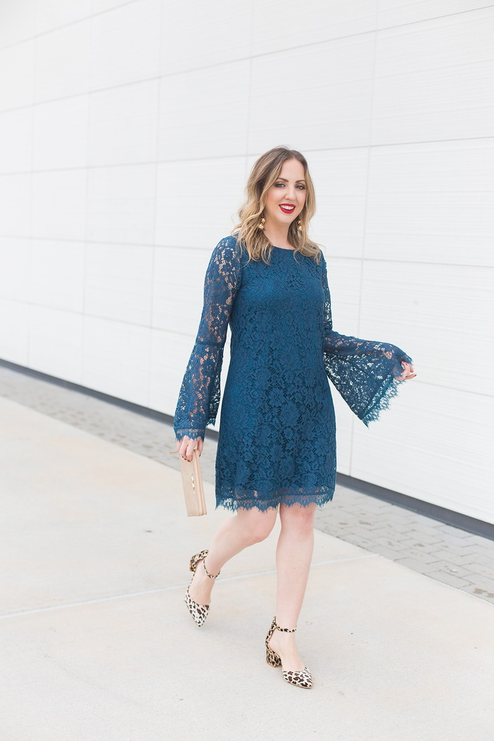 blue bell sleeve lace dress with leopard print shoes