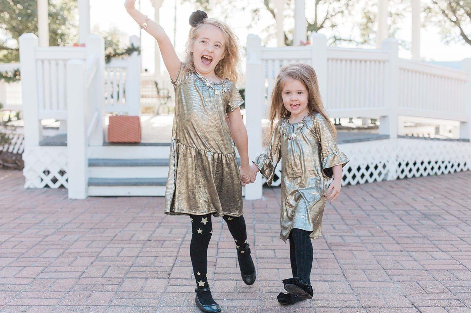 Holiday metallic dresses for little girls