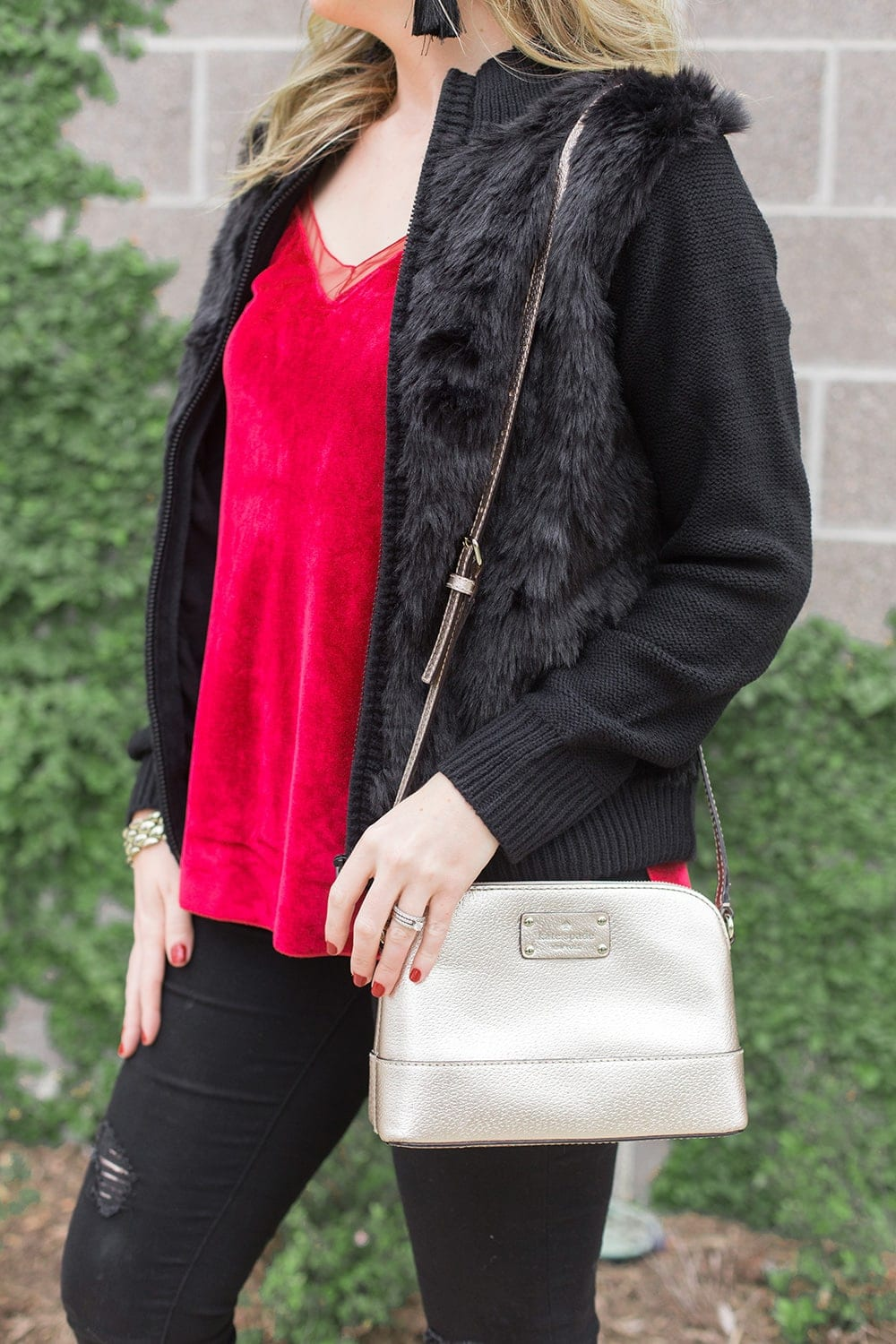 red and black holiday outfit idea