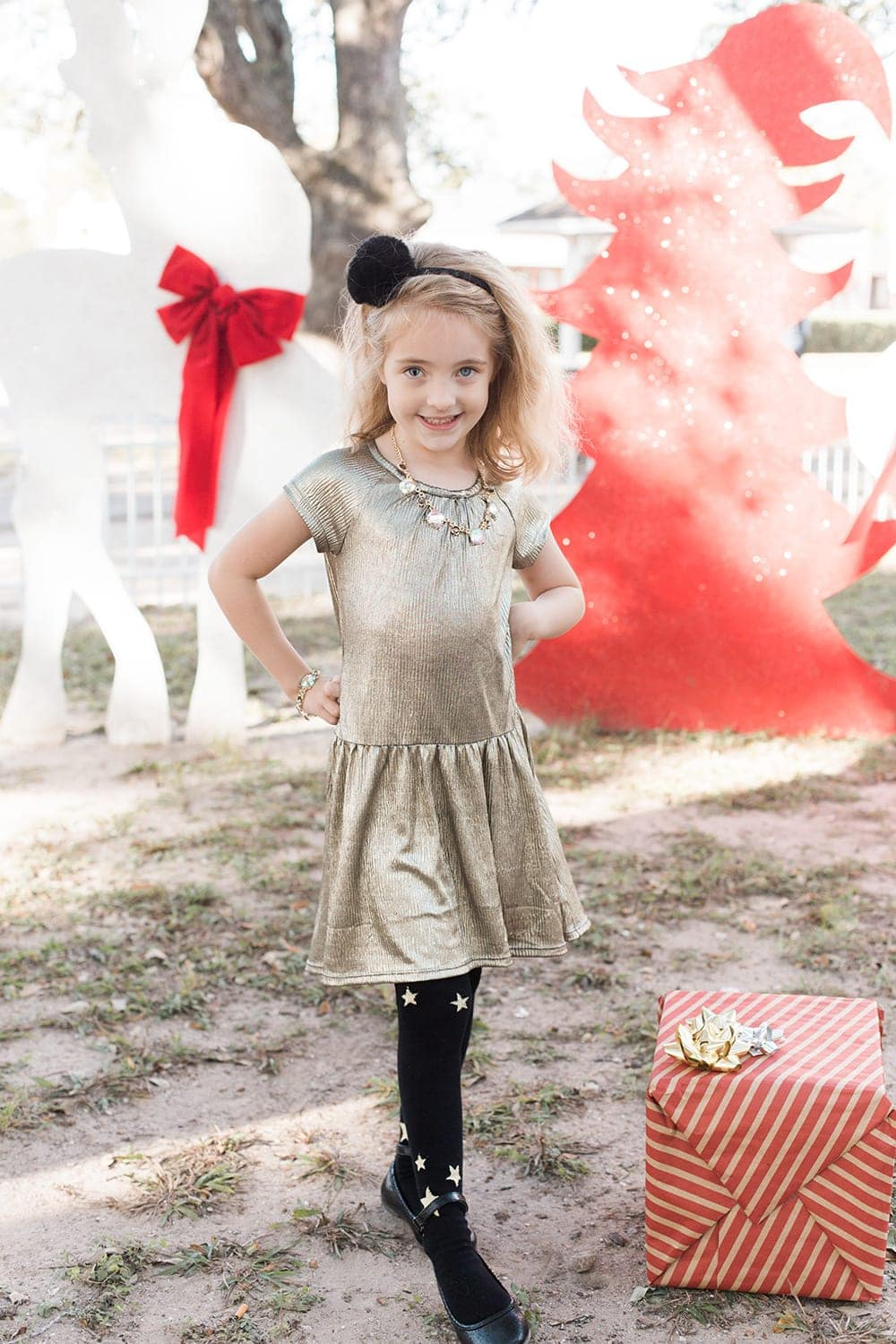 metallic Christmas dress for little girl