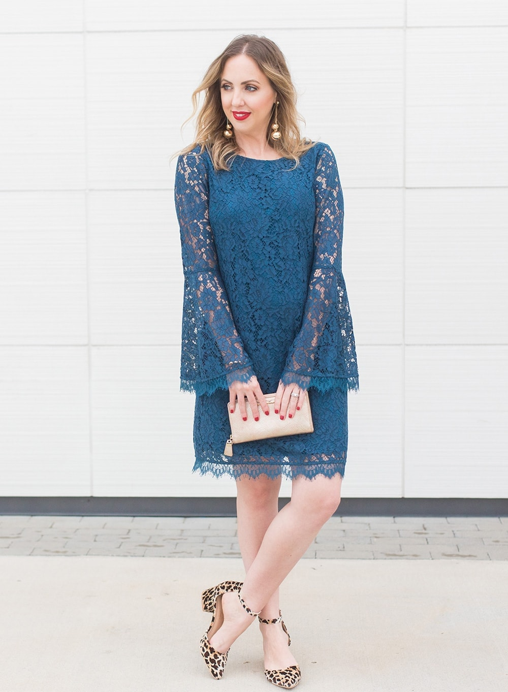 blue bell sleeve lace dress with gold clutch and leopard print block heels - Houston blogger Meg O. on the Go