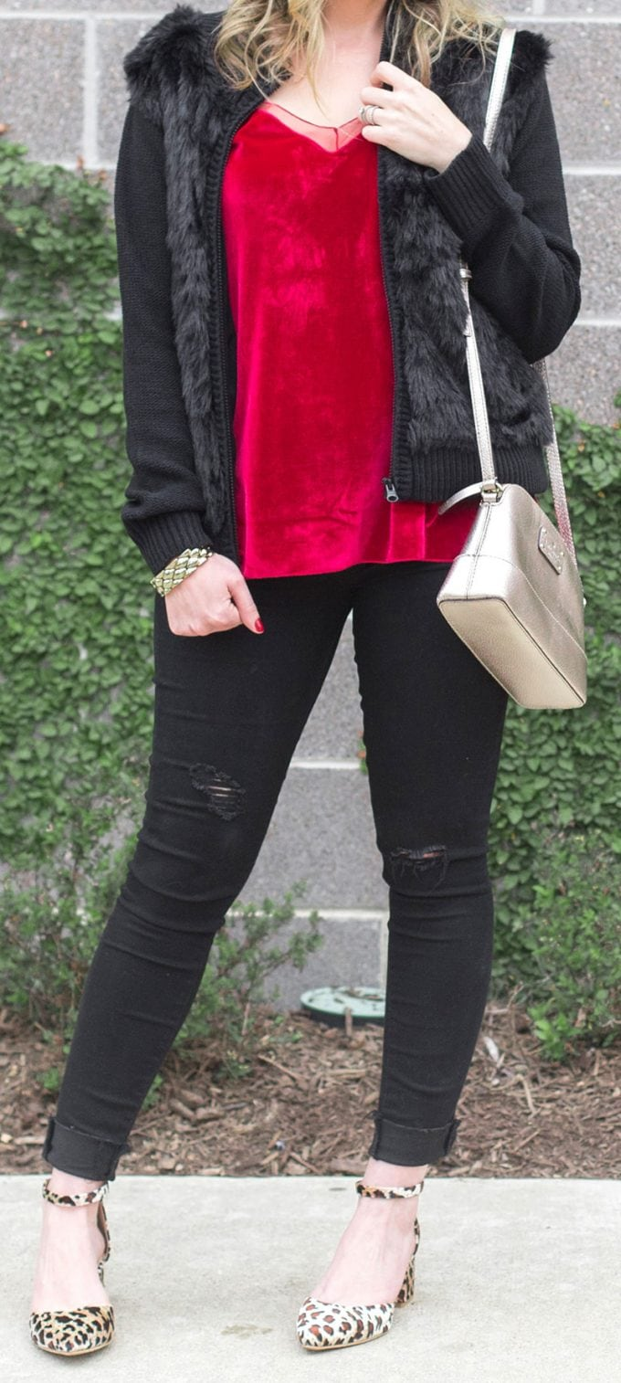 Red velvet, black fur and leopard holiday outfit idea! #fashion #fashionblogger #outfitidea #ootd #style