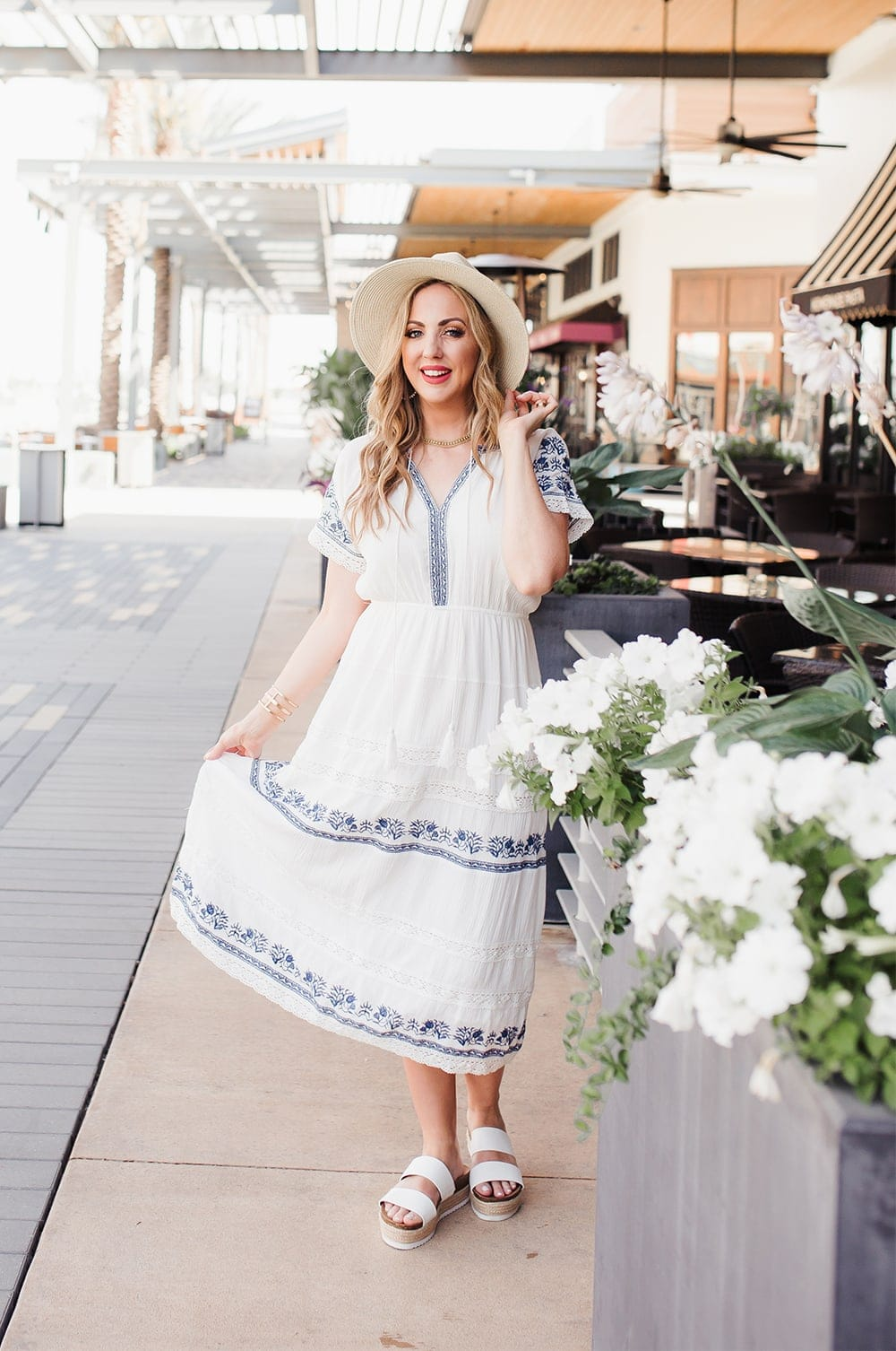 Houston lifestyle blogger Meg O. on the Go shares 3 perfect outfits for summer - this embroidered dress gives all the vacation vibes
