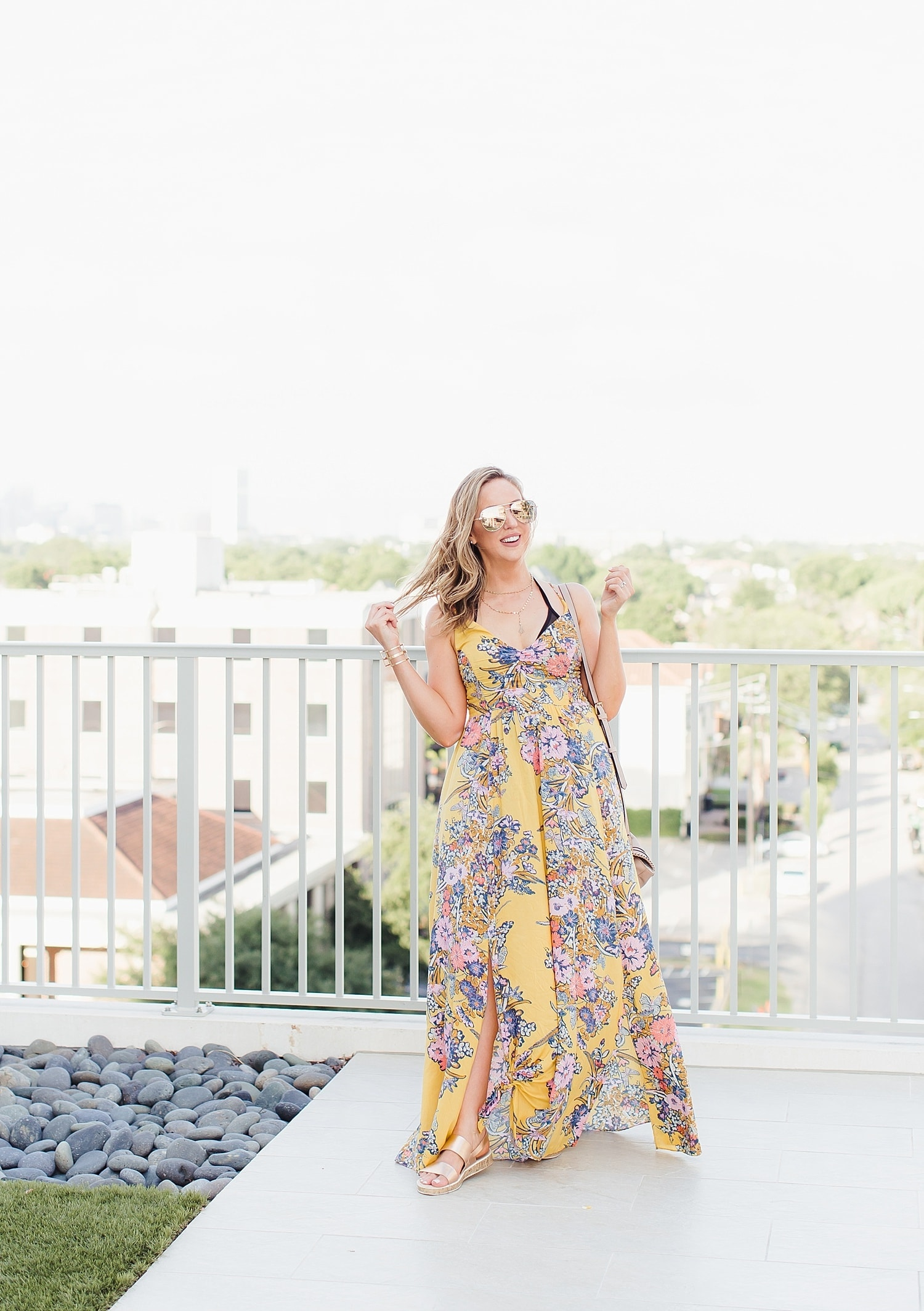 Houston blogger Meg O. on the Go styles the Free People Through the Vine Printed Maxi dress from Evereve