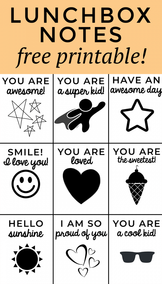 Free lunchbox notes printable! Just print and cut!