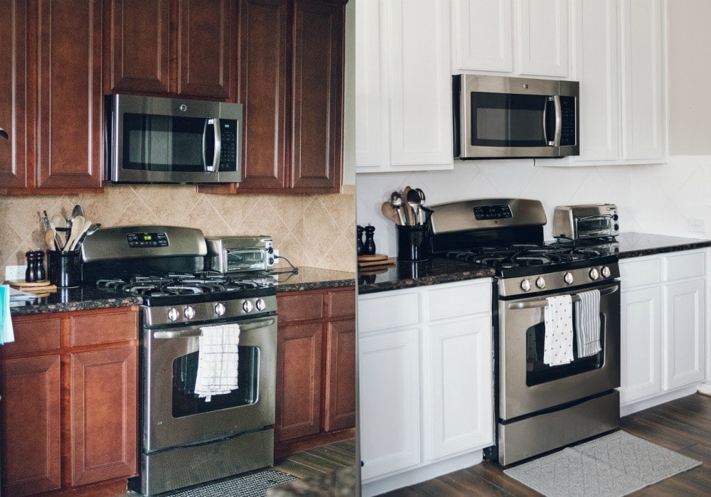 Houston blogger Meg O. on the Go shares how she painted her entire kitchen for under $250 - including the backsplash and cabinets!