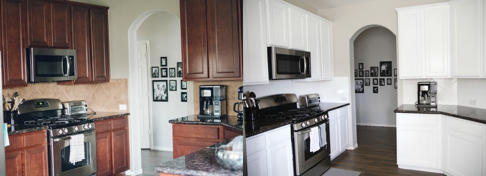 Houston blogger Meg O. on the Go shares how she painted her entire kitchen for under $250 - before and after photo of the project