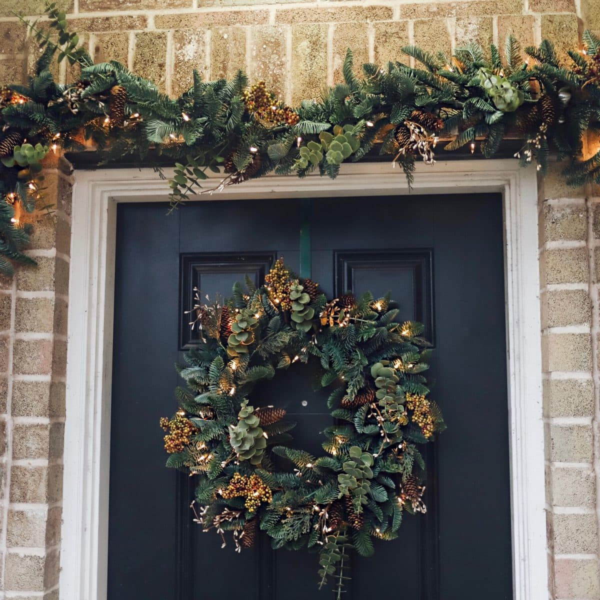 Balsam Hill outdoor wreath and garland with LED battery lights and timers