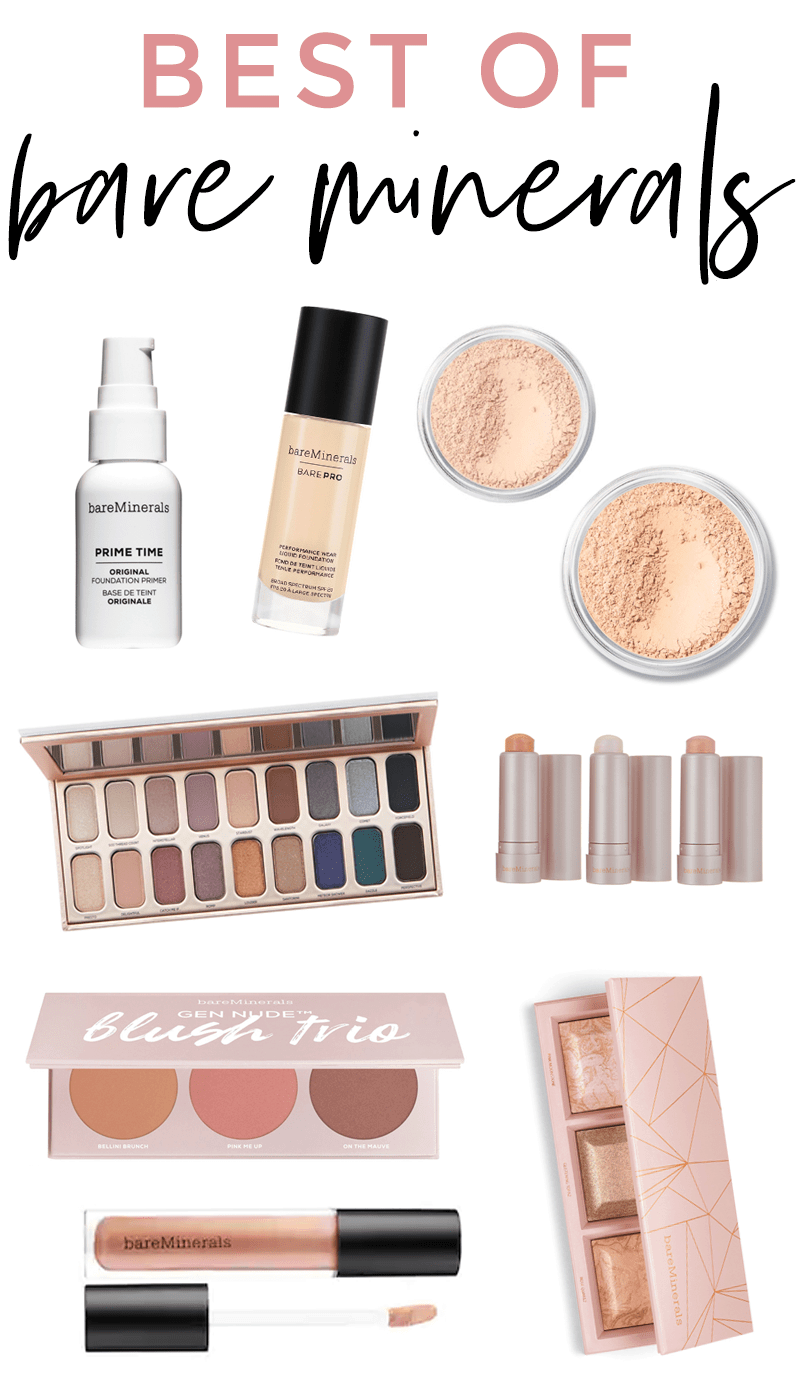 best of bareMinerals - all of the cult-favorite Bare Minerals makeup products! Such an underrated makeup brand with so many beautiful products. Lots of great gift ideas too! #makeup #bareminerals #beautyblogger #beauty #foundation #motd #makeuplooks #makeuptips #beautytips #beautybrand