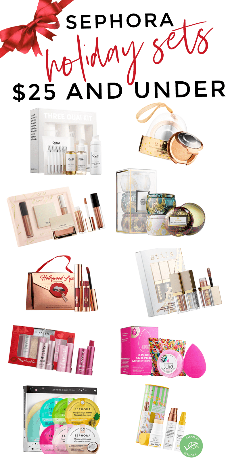 Sephora holiday sets $25 and under - amazing affordable gift ideas #holidaygift #giftideas #giftfguide #holidaygiftideas #beautygifts #beauty #makeup #beautyblogger #sephora
