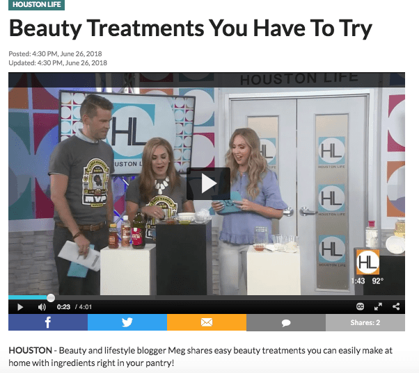 Houston beauty blogger Meg O. on the Go featured on Houston Life TV - Beauty Treatments You Have to Try Segment