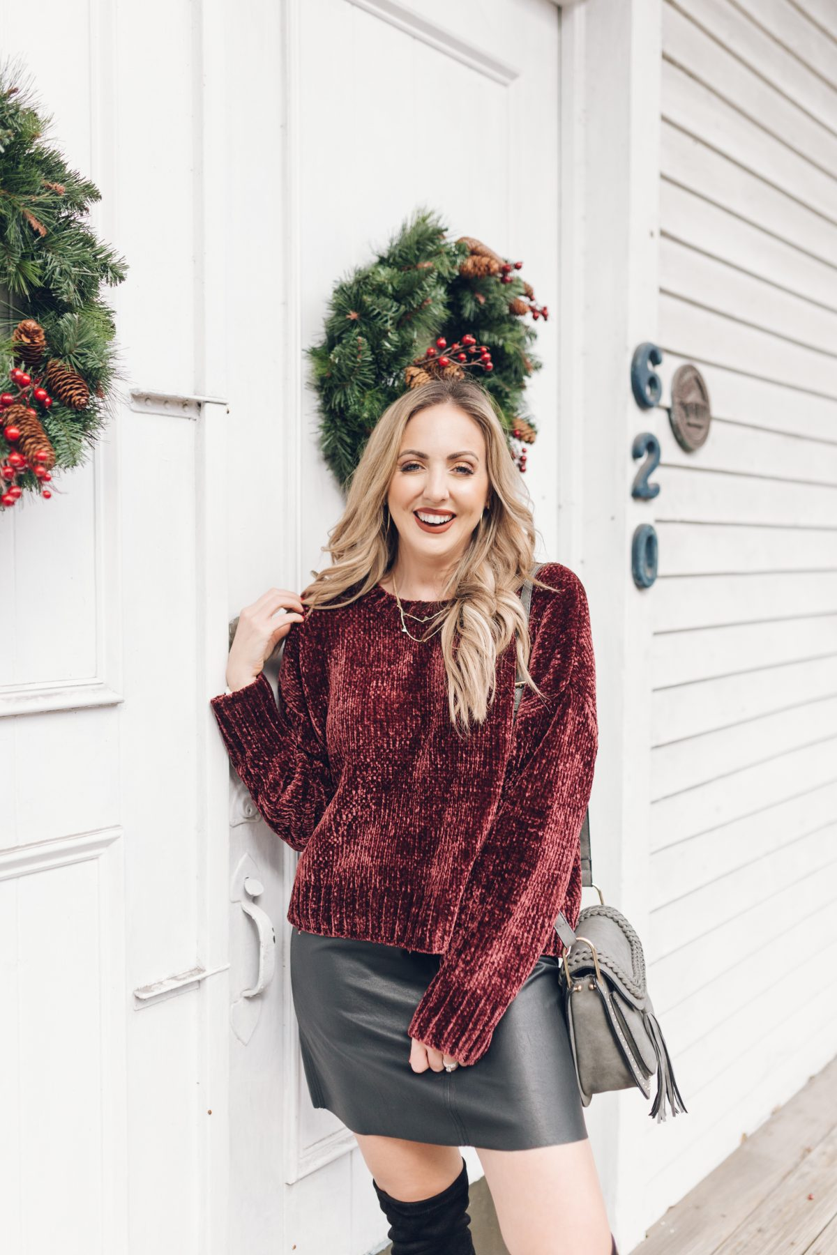 Houston lifestyle blogger Meg O. on the Go shares two holiday outfits from Evereve