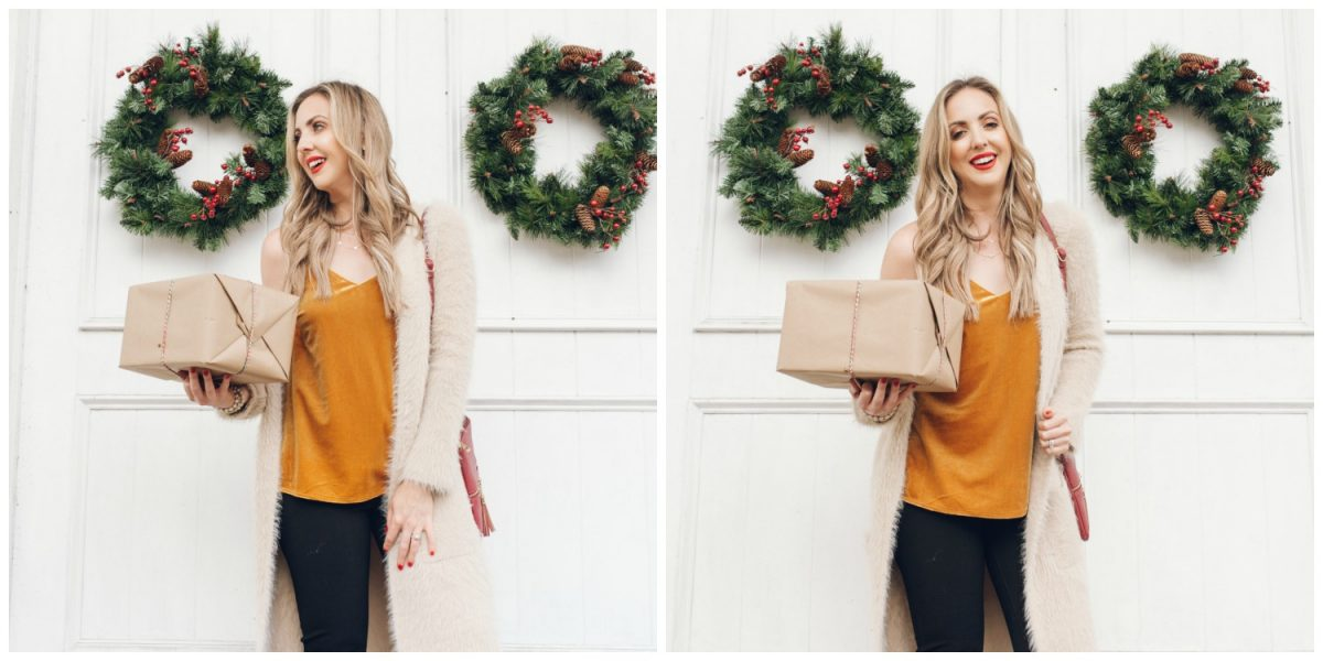 Houston blogger Meg O. on the Go shares a holiday look that includes a velvet cami, long cardigan, and ponte knit pants
