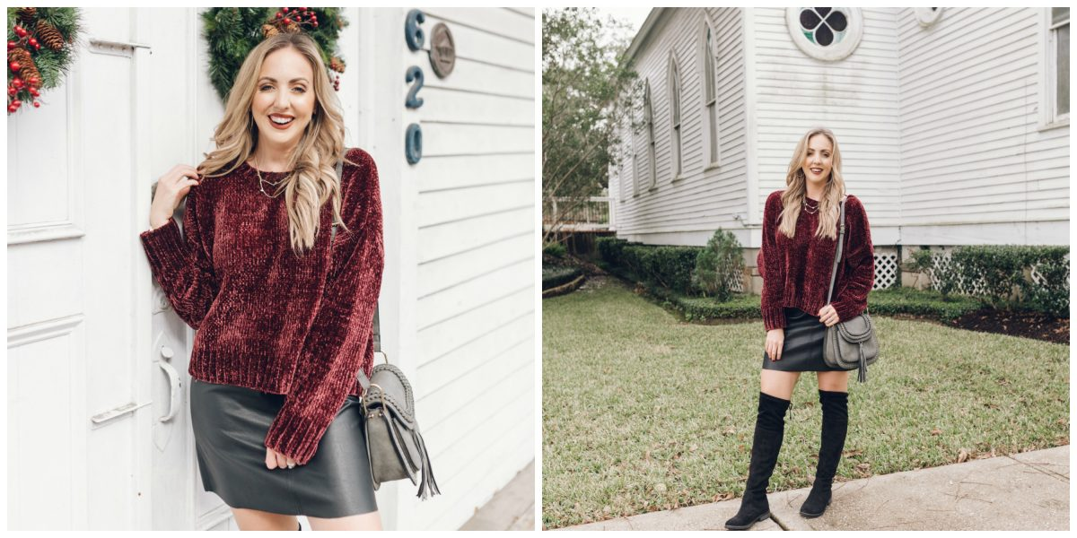 Houston lifestyle blogger Meg O. on the Go shares a chenille sweater, faux leather skirt, and over the knee boots as a Christmas outfit idea