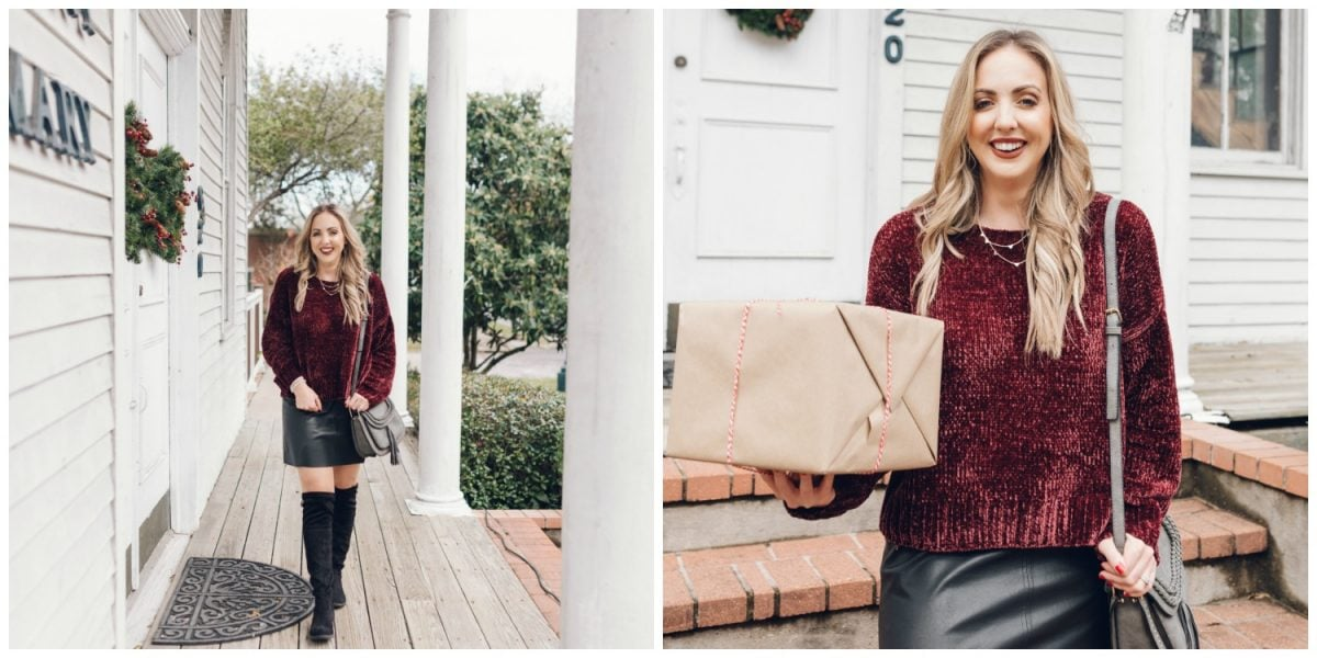 Houston blogger Meg O. on the Go shares a Christmas outfit idea wearing all things from Evereve - chenille sweater, faux leather skirt, and over the knee boots