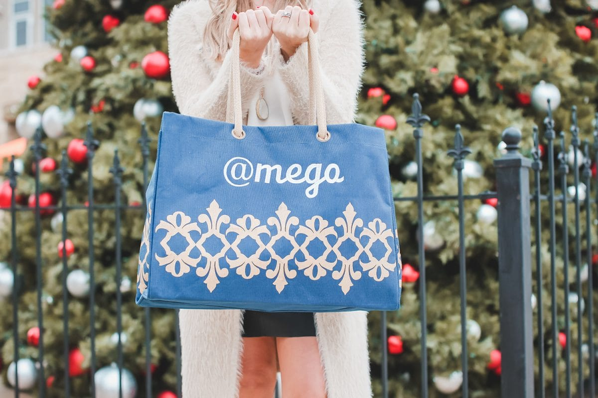 Houston blogger Meg O. on the Go shares her holiday brunch with Boardwalk Towne Lake in Cypress - monogrammed tote bags sponsored by The Royal Standard
