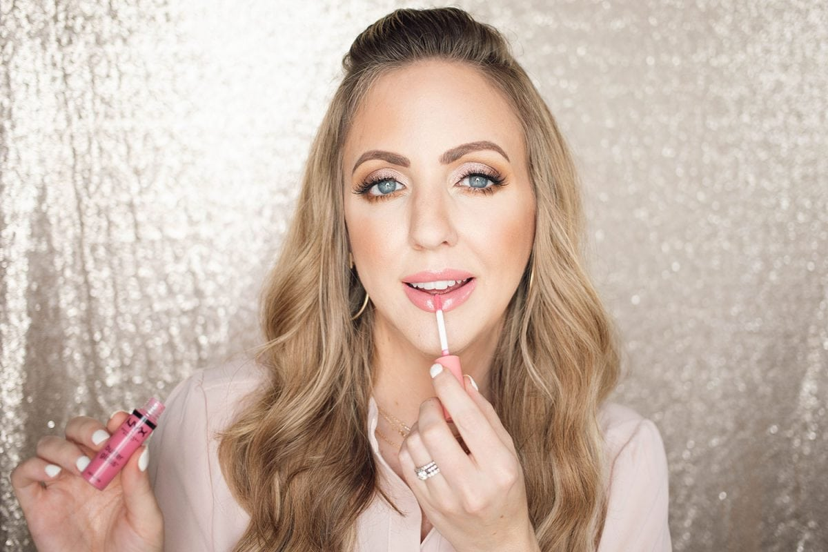 Houston beauty blogger Meg O. shares a spring makeup look - achieve dewy skin and glossy lips! NYX butter gloss in Vanilla Cream Pie for a glossy look