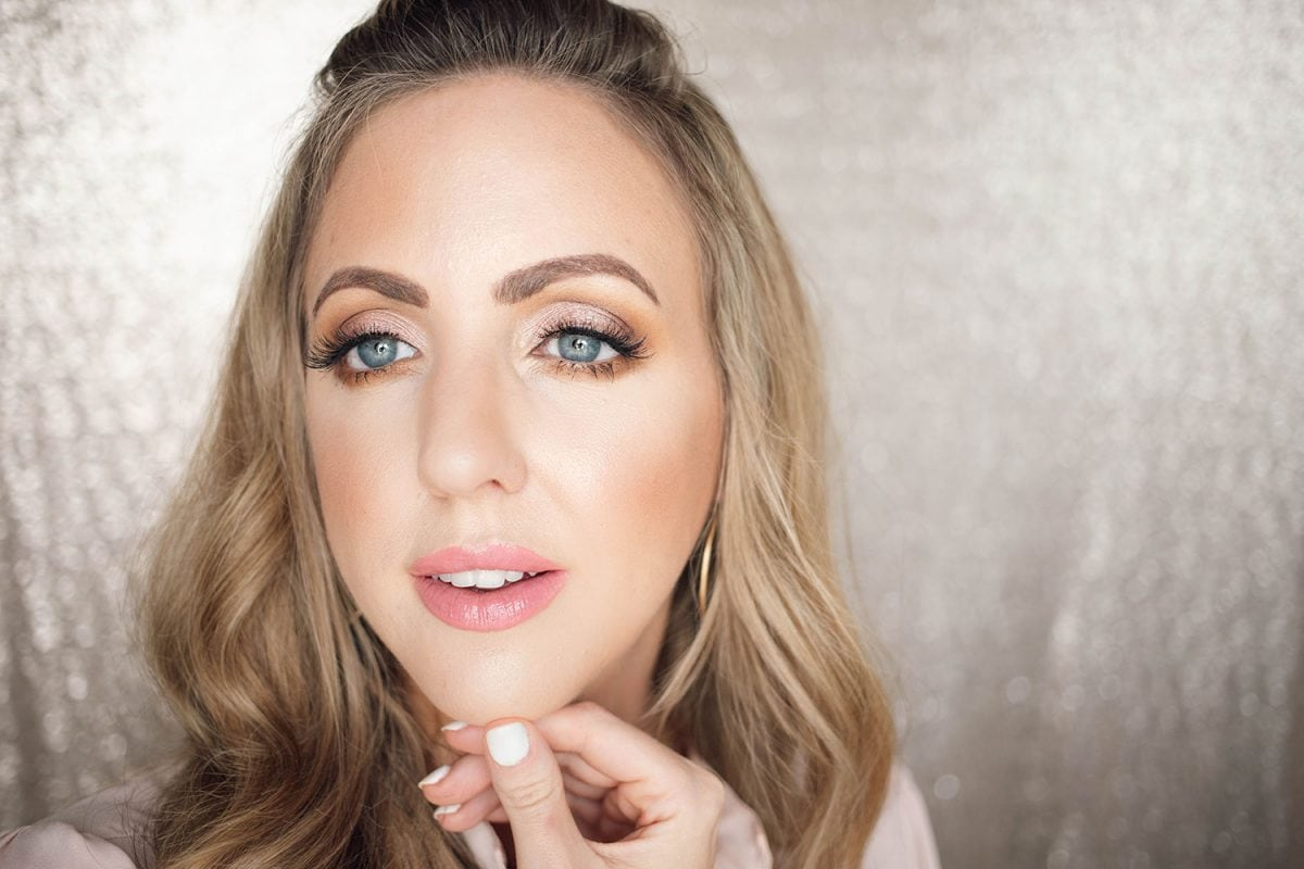 Houston beauty blogger Meg O. shares a spring makeup look - achieve dewy skin and glossy lips! Finished look from the makeup tutorial