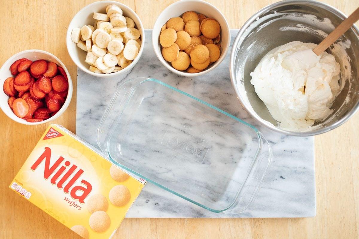 Easy strawberry banana icebox cake ingredients