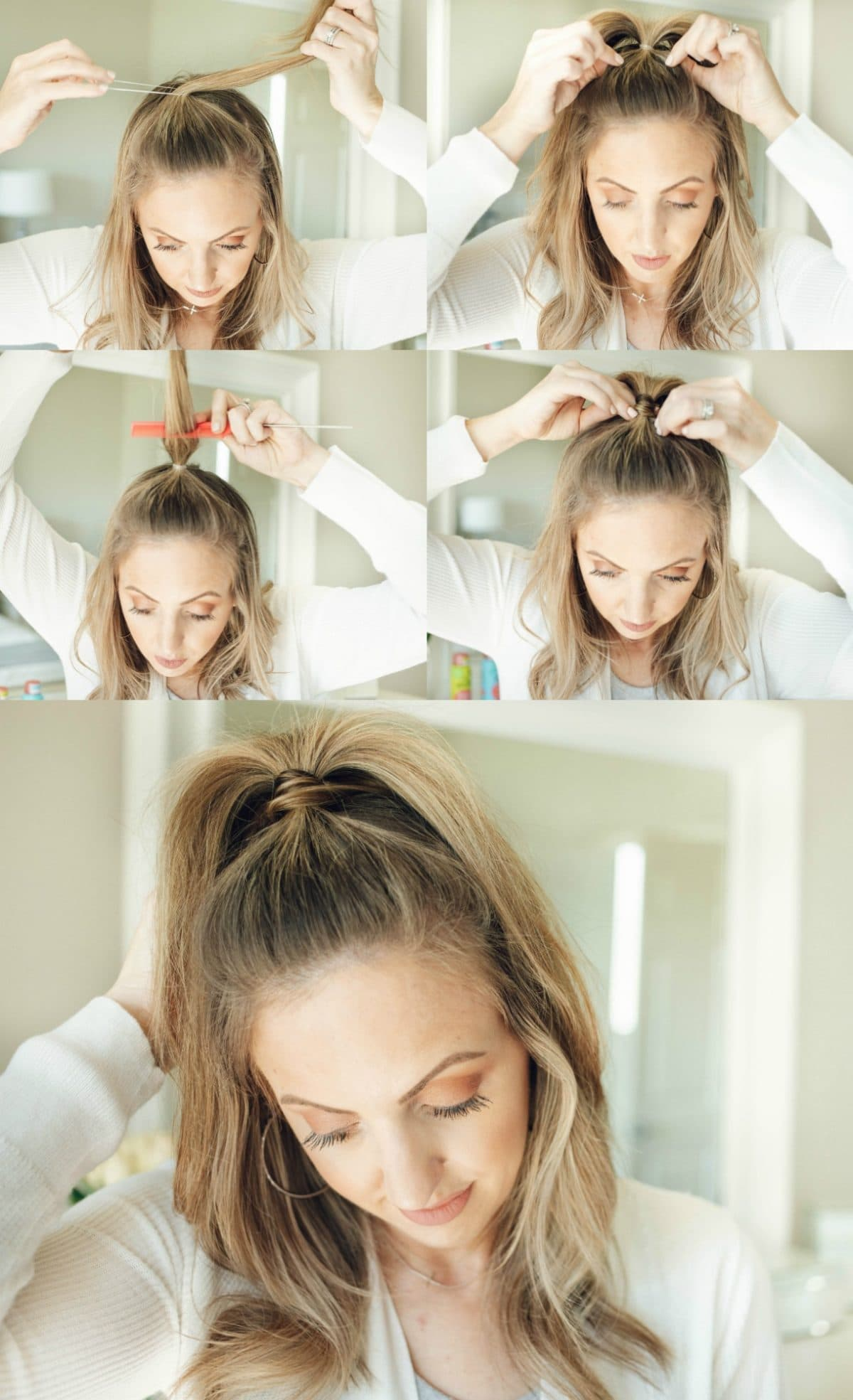 Houston beauty blogger Meg O. on the Go shares 3 hairstyles for second day hair and beyond. These are all fine hair approved! This half up pony is cute and easy