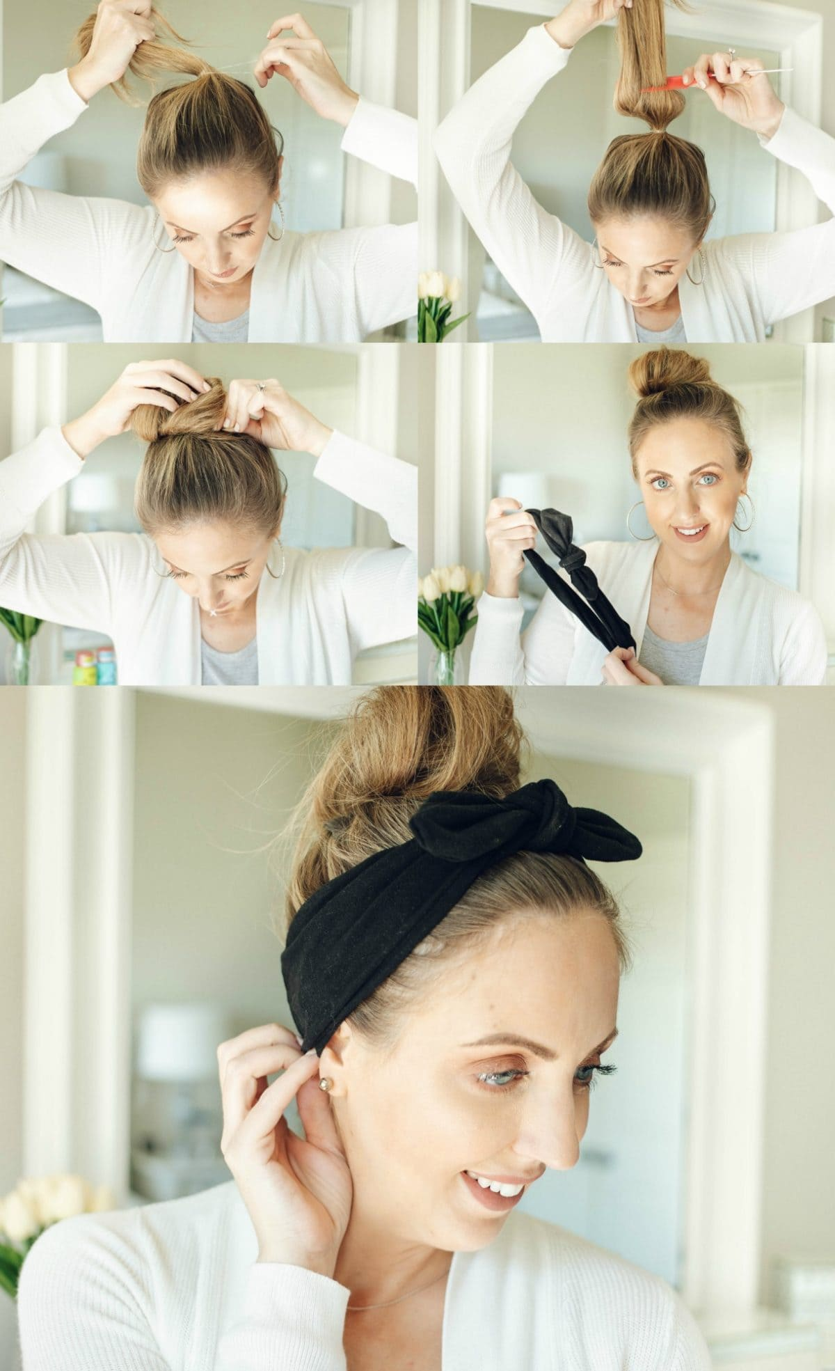Houston beauty blogger Meg O. on the Go shares 3 hairstyles for second day hair and beyond. These are all fine hair approved! Top knot with bandana hair tutorial