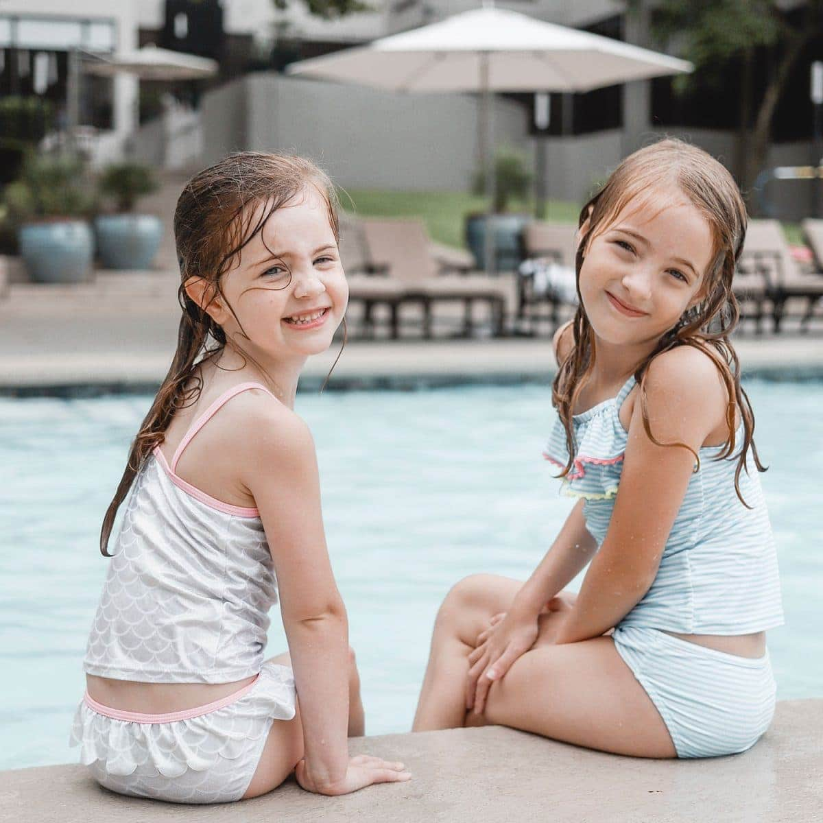 Houston blogger Meg O. on the Go shares her staycation at the Omni Houston Hotel - kids at the Omni Houston Hotel pool