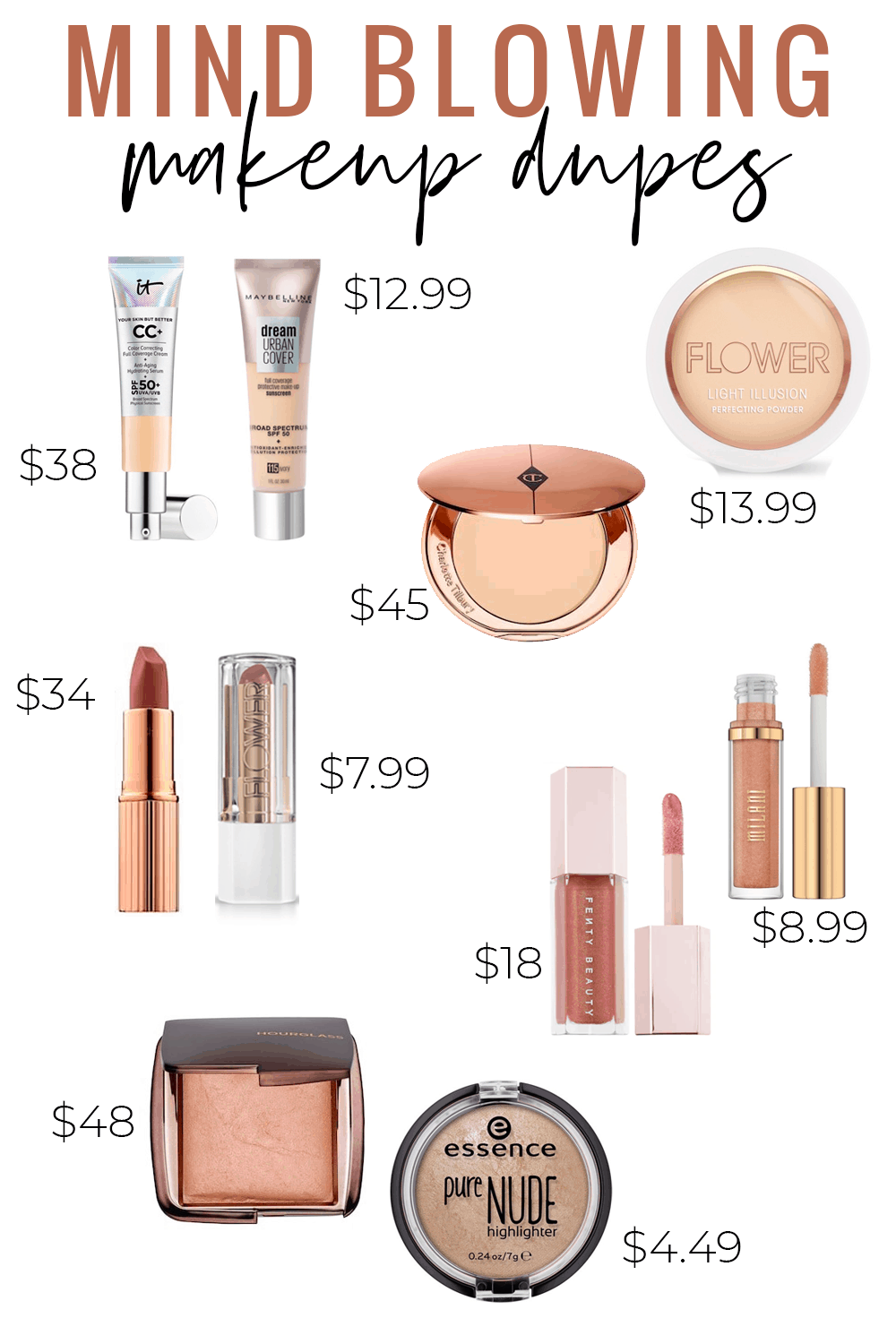 Mind blowing makeup dupes - Charlotte Tilbury Pillow Talk Lipstick Dupe. It Cosmetics CC Cream Dupe, Charlotte Tilbury Powder Dupe, Hourglass Ambient Lighting Powder Dupe, Fenty Gloss Bomb Dupe