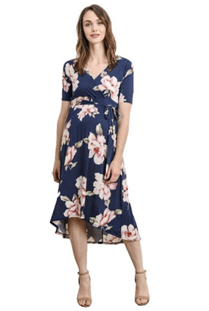High-Low Wrap Floral Maternity Dress