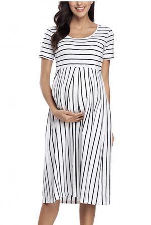 Striped Midi Maternity Dress