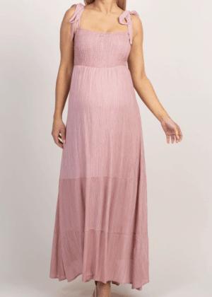 Mauve Smocked Maternity Maxi Dress