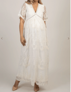 Cream Lace Mesh Overlay Maternity Maxi Dress