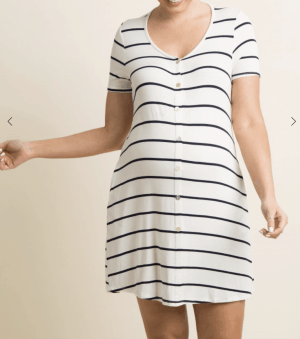 Ivory Striped Button Front Maternity Sleep Dress