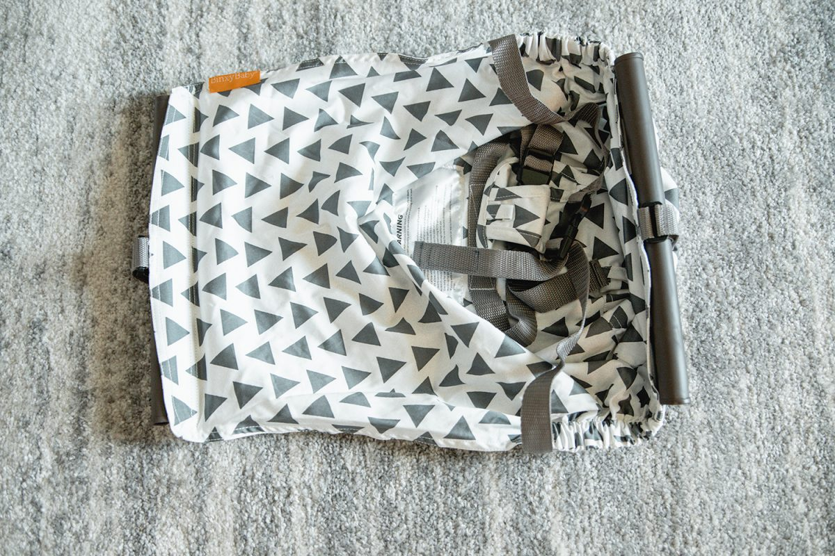 Houston mommy blogger Meg O. shares new and genius baby gear items - Binxy Baby shopping cart hammock