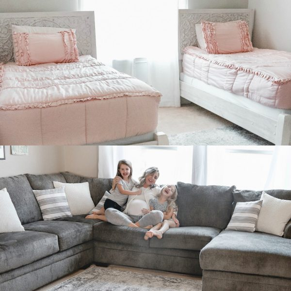 Houston blogger Meg O. on the Go shares a girls' shared bedroom and playroom makeover with Exclusive Furniture Houston