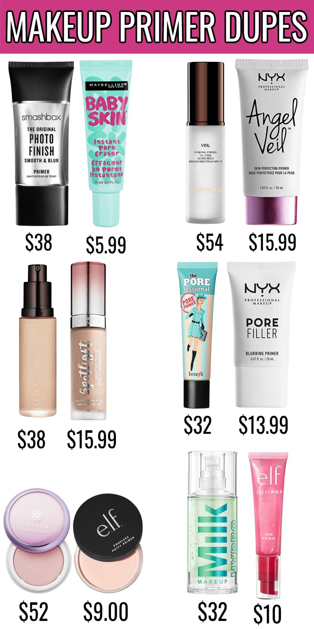 Makeup Primer Dupes - Amazing drugstore dupes for high end makeup primers!