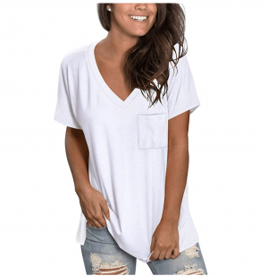 Slouchy V-Neck Pocket Tee