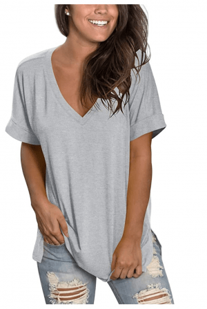 V Neck Tunic Tee Side Split Hem